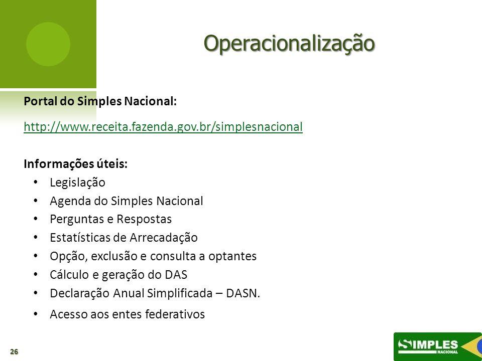 Operacionalização Portal do Simples Nacional: