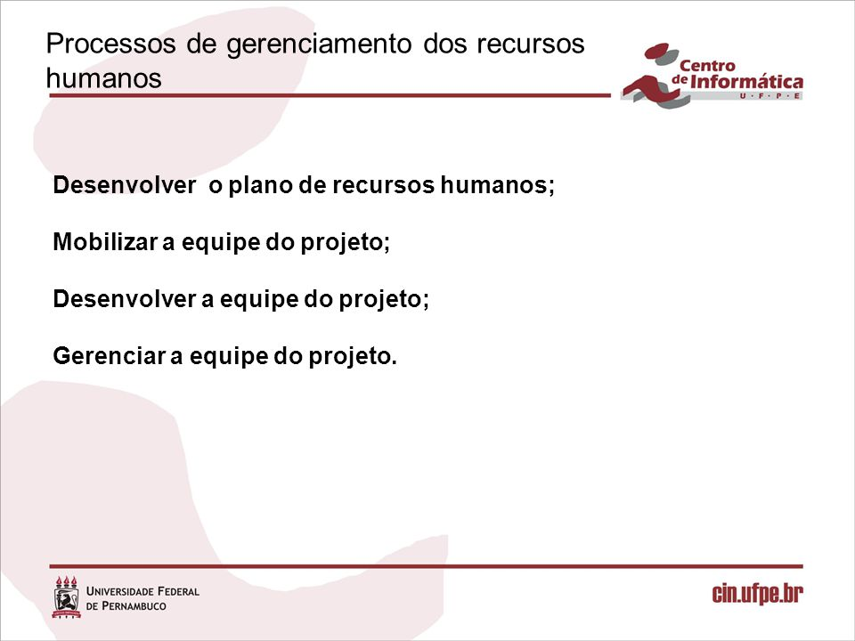 Processos de gerenciamento dos recursos humanos