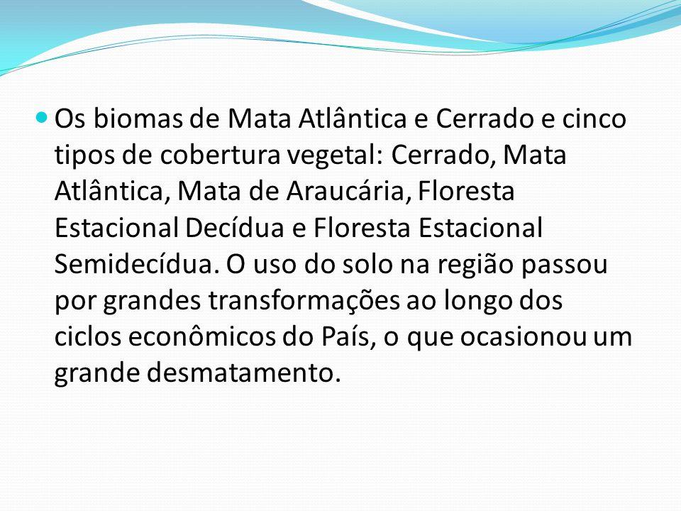 Os biomas de Mata Atlântica e Cerrado e cinco tipos de cobertura vegetal: Cerrado, Mata Atlântica, Mata de Araucária, Floresta Estacional Decídua e Floresta Estacional Semidecídua.