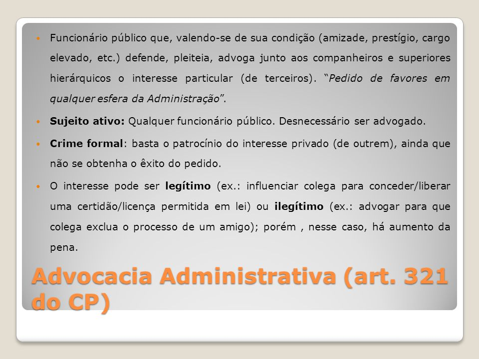 Advocacia Administrativa (art. 321 do CP)