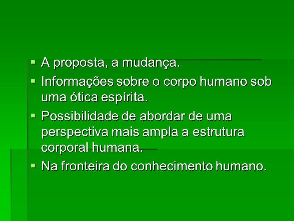 A proposta, a mudança. Informações sobre o corpo humano sob uma ótica espírita.