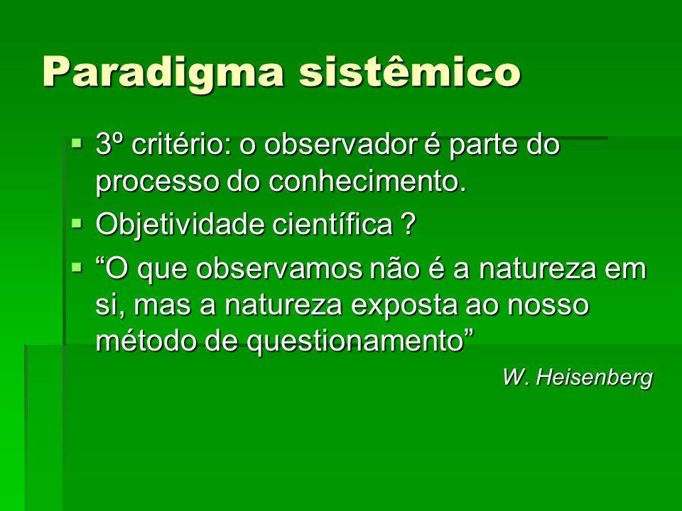 Paradigma sistêmico 3º critério: o observador é parte do processo do conhecimento. Objetividade científica