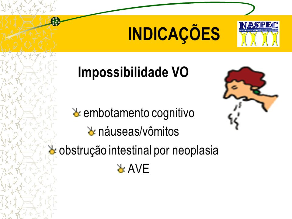 INDICAÇÕES Impossibilidade VO embotamento cognitivo náuseas/vômitos