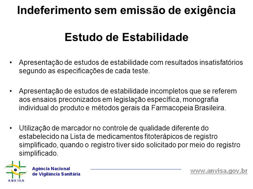 Indeferimento sem emissão de exigência Estudo de Estabilidade