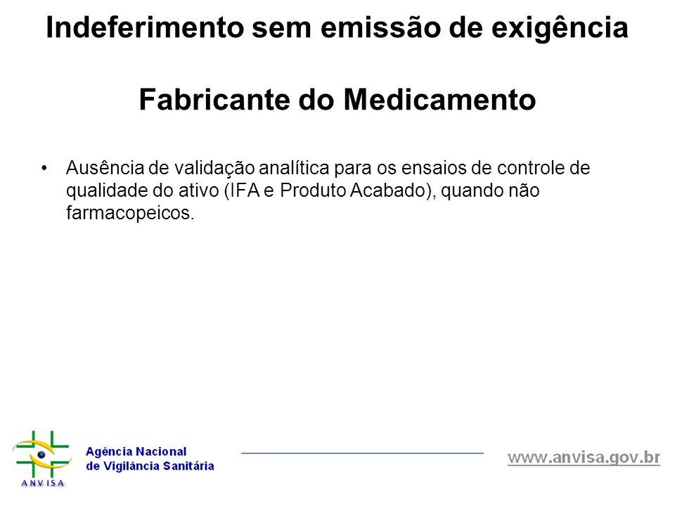 Indeferimento sem emissão de exigência Fabricante do Medicamento