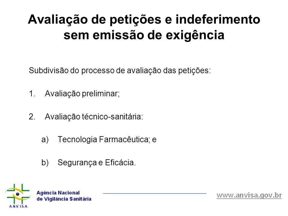 Avaliação de petições e indeferimento sem emissão de exigência