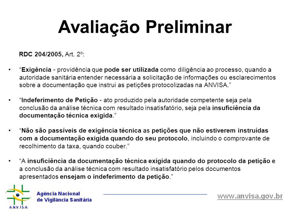 Avaliação Preliminar RDC 204/2005, Art. 2º: