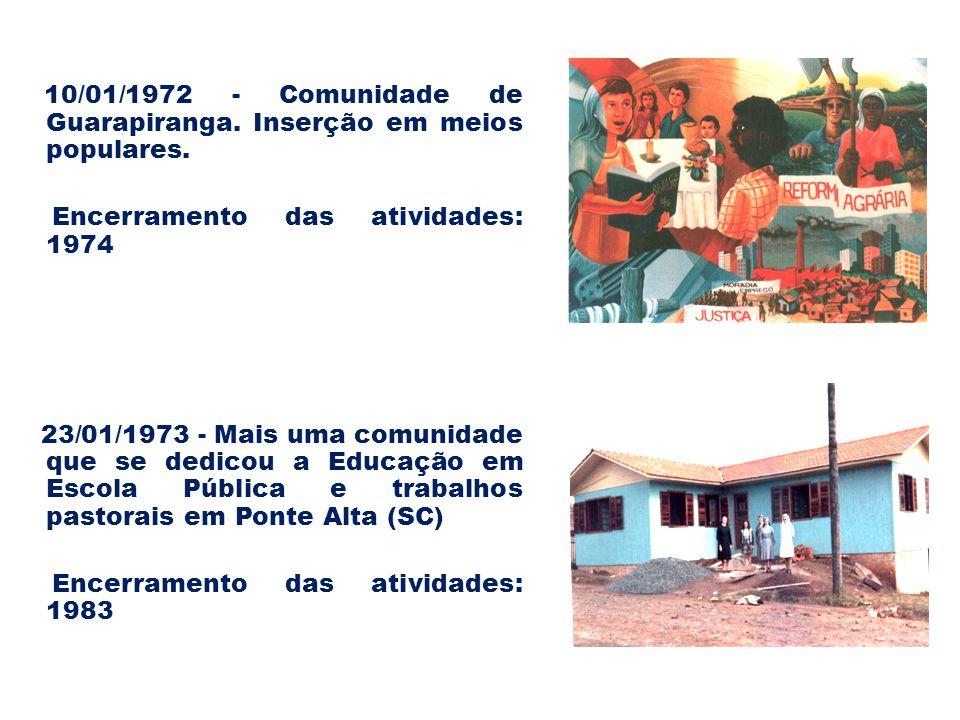 10/01/1972 - Comunidade de Guarapiranga. Inserção em meios populares.