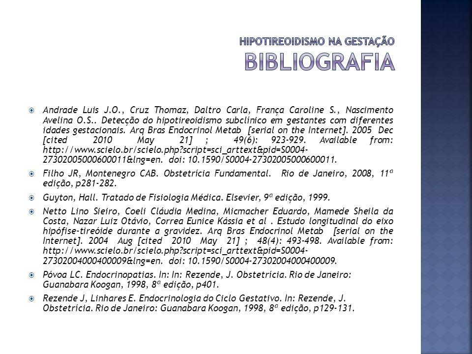 HIPOTIREOIDISMO NA GESTAÇÃO bibliografia