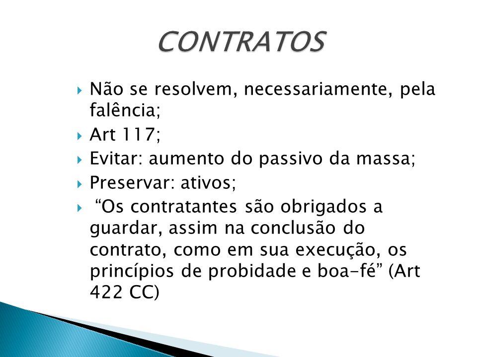 CONTRATOS Não se resolvem, necessariamente, pela falência; Art 117;