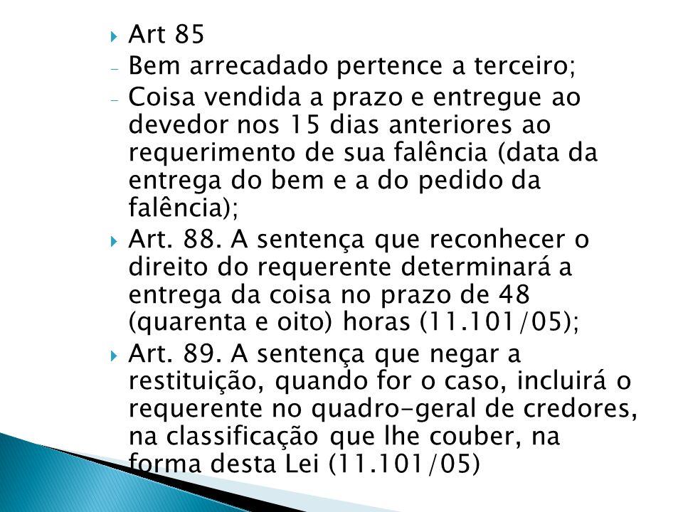 Art 85 Bem arrecadado pertence a terceiro;