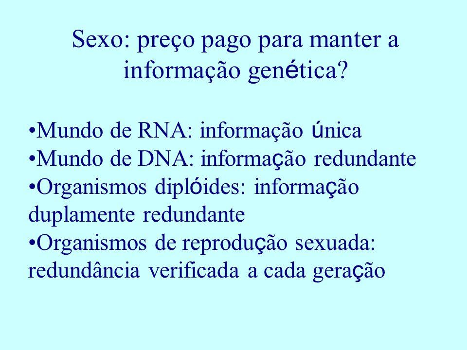 Sexo: preço pago para manter a informação genética