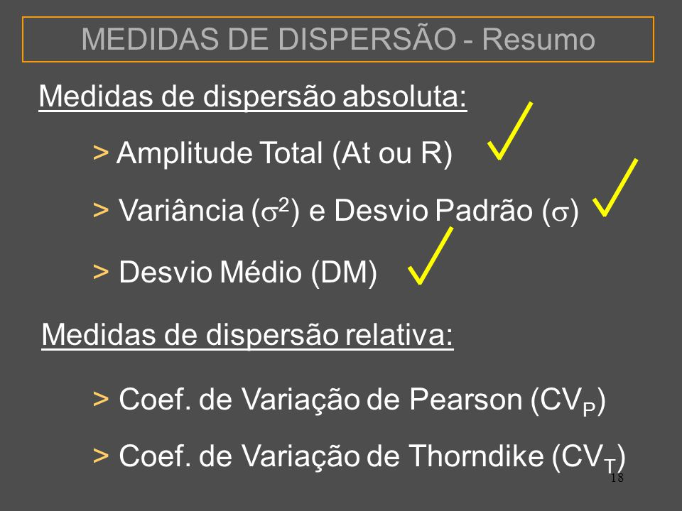 MEDIDAS DE DISPERSÃO - Resumo