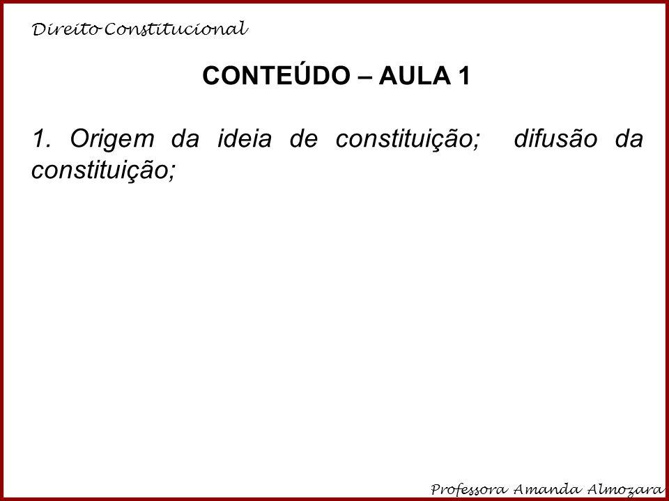 1. Origem da ideia de constituição; difusão da constituição;
