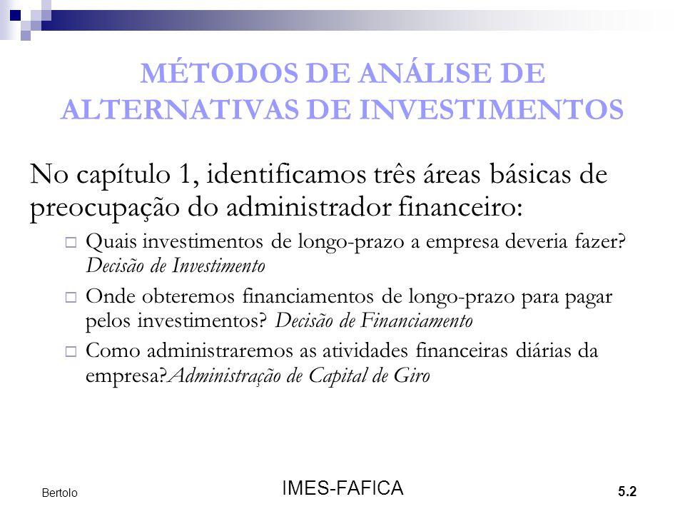 MÉTODOS DE ANÁLISE DE ALTERNATIVAS DE INVESTIMENTOS