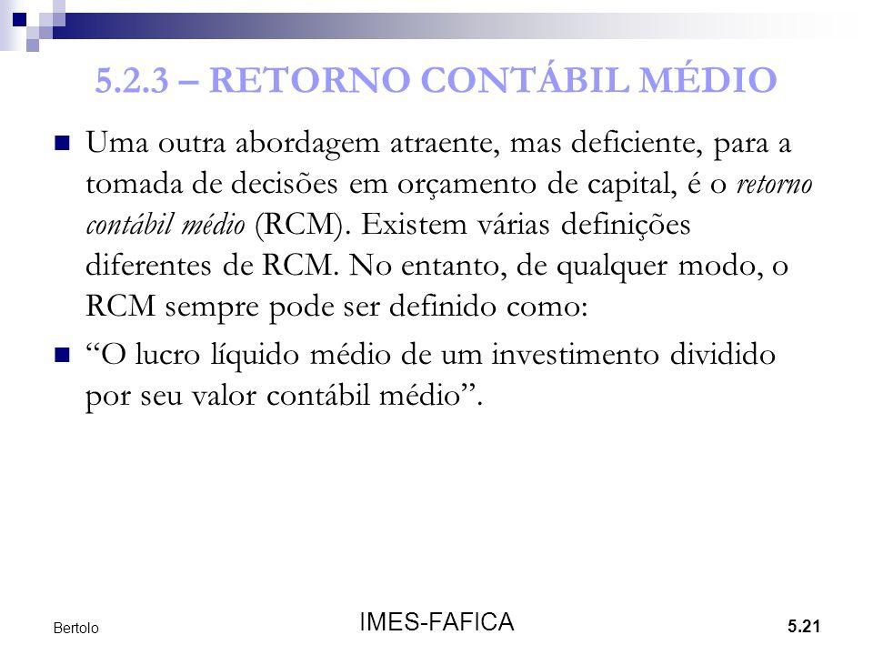 5.2.3 – RETORNO CONTÁBIL MÉDIO