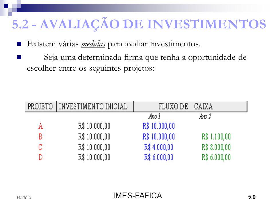 5.2 - AVALIAÇÃO DE INVESTIMENTOS