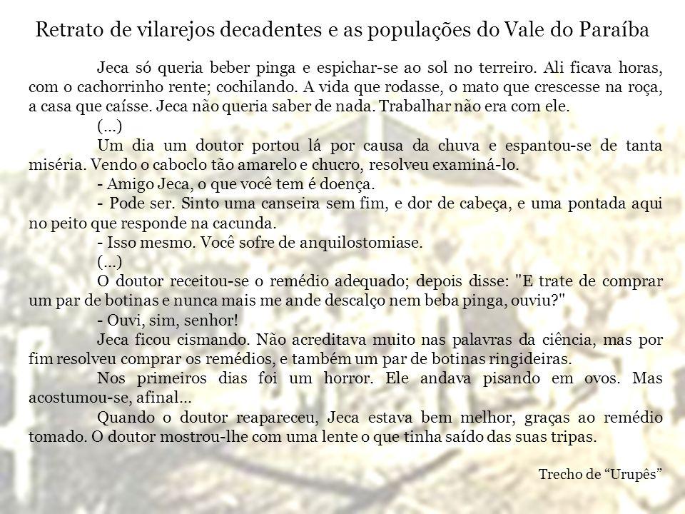 Retrato de vilarejos decadentes e as populações do Vale do Paraíba