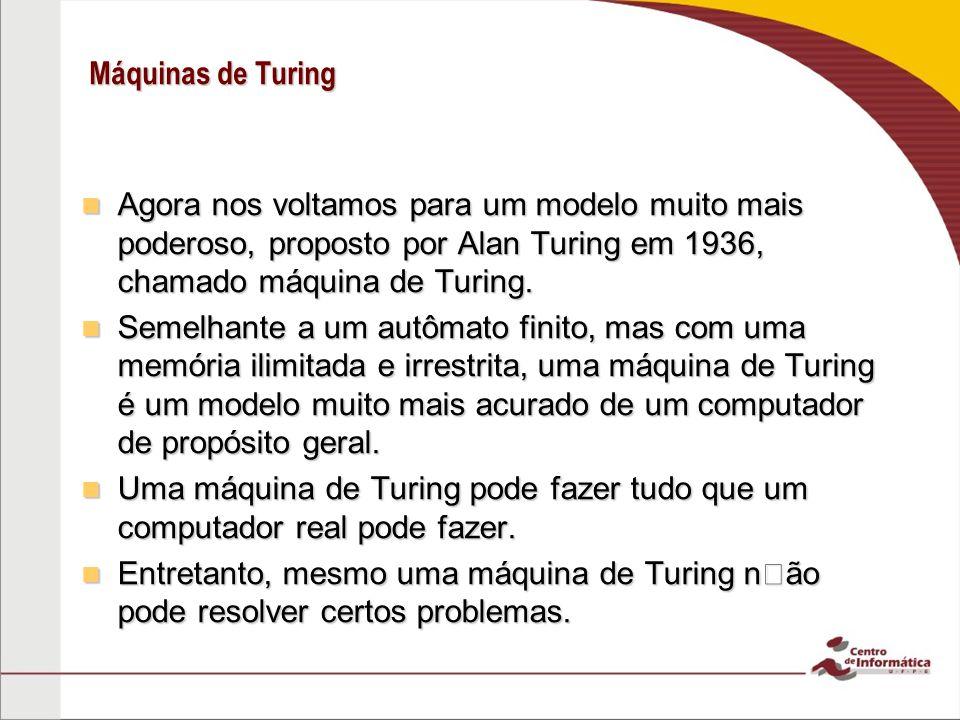 Máquinas de Turing Agora nos voltamos para um modelo muito mais poderoso, proposto por Alan Turing em 1936, chamado máquina de Turing.