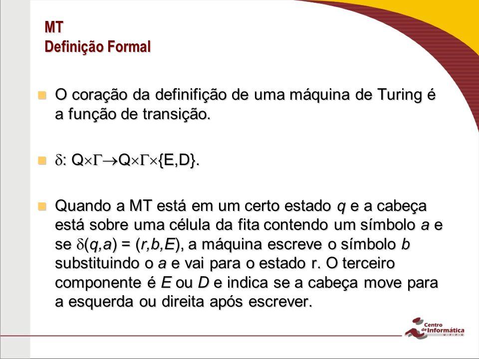 MT Definição Formal O coração da definifição de uma máquina de Turing é a função de transição. : QQ{E,D}.