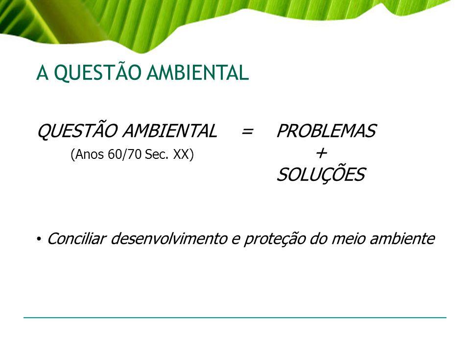 A QUESTÃO AMBIENTAL QUESTÃO AMBIENTAL = PROBLEMAS
