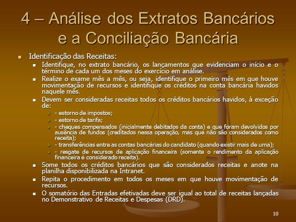 4 – Análise dos Extratos Bancários e a Conciliação Bancária