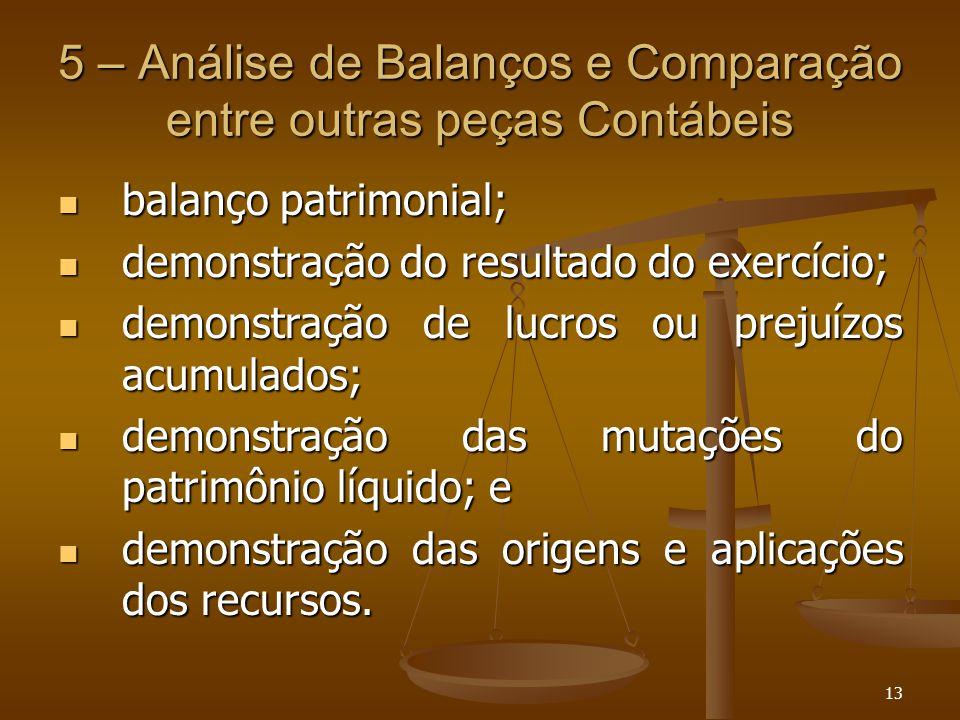 5 – Análise de Balanços e Comparação entre outras peças Contábeis
