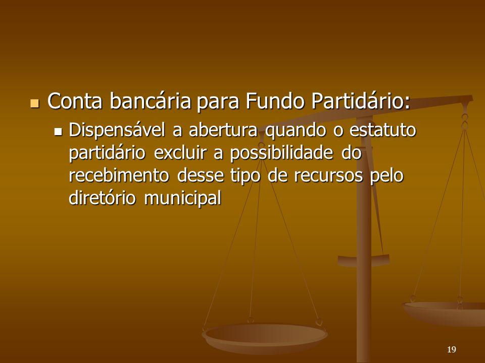Conta bancária para Fundo Partidário:
