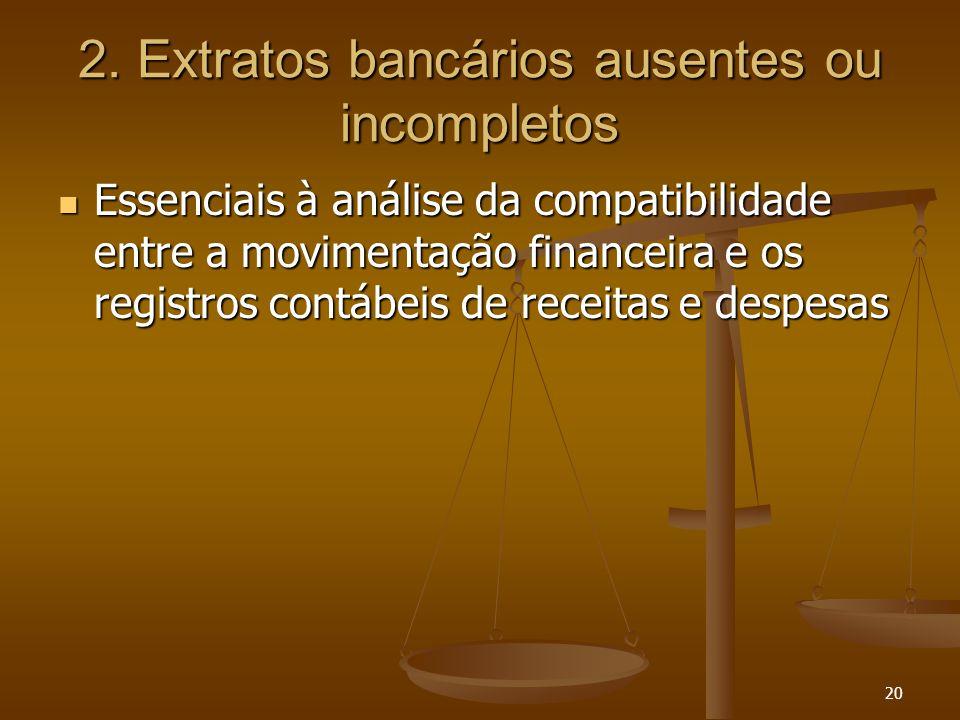 2. Extratos bancários ausentes ou incompletos