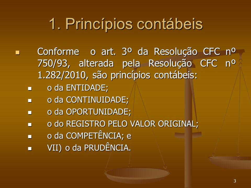 1. Princípios contábeis Conforme o art. 3º da Resolução CFC nº 750/93, alterada pela Resolução CFC nº 1.282/2010, são princípios contábeis: