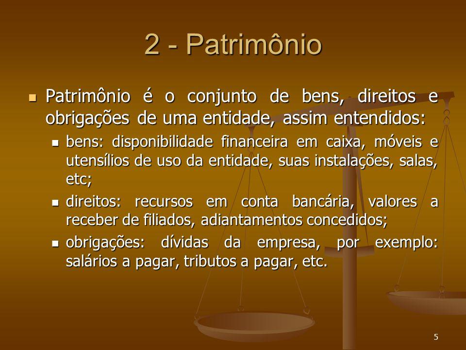 2 - Patrimônio Patrimônio é o conjunto de bens, direitos e obrigações de uma entidade, assim entendidos: