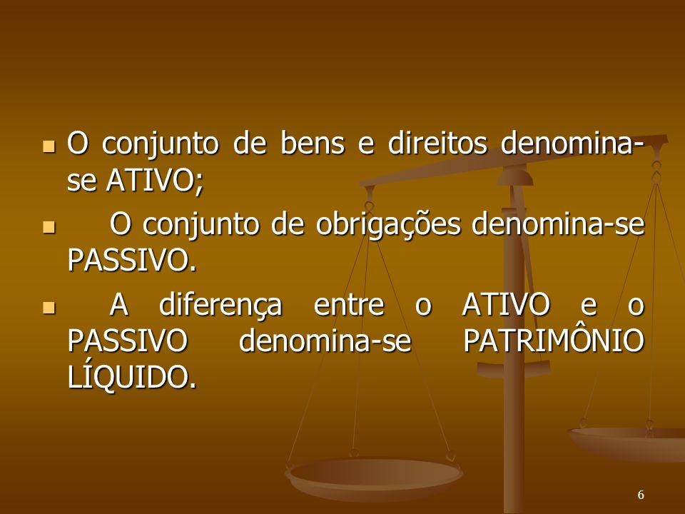 O conjunto de bens e direitos denomina-se ATIVO;