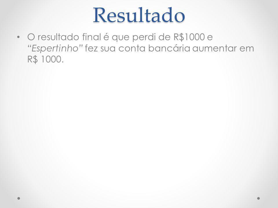 Resultado O resultado final é que perdi de R$1000 e Espertinho fez sua conta bancária aumentar em R$ 1000.