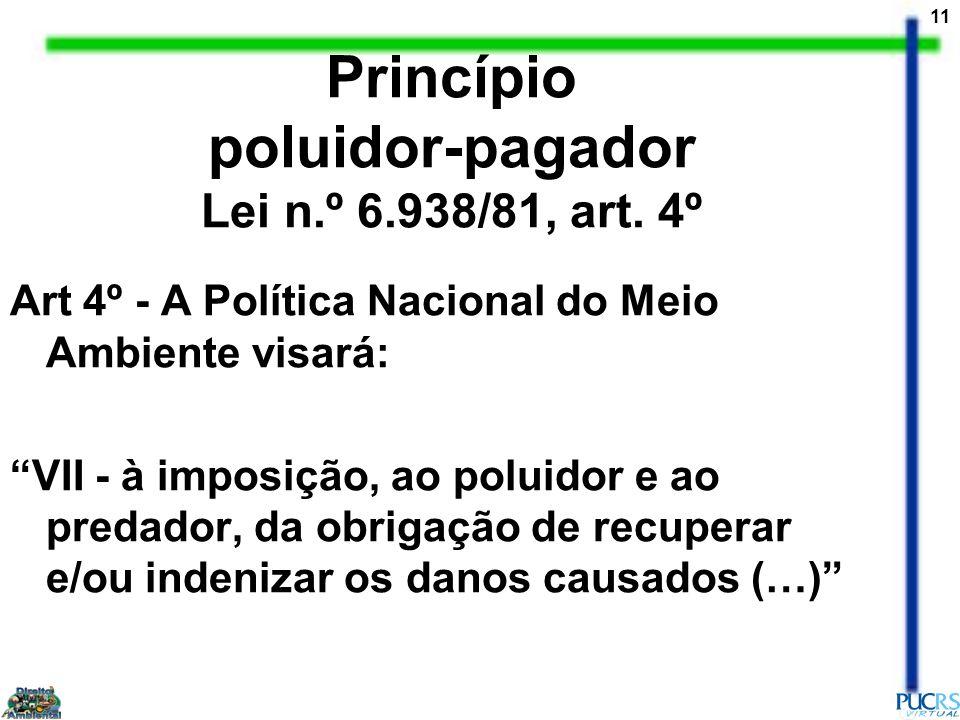 Princípio poluidor-pagador Lei n.º 6.938/81, art. 4º