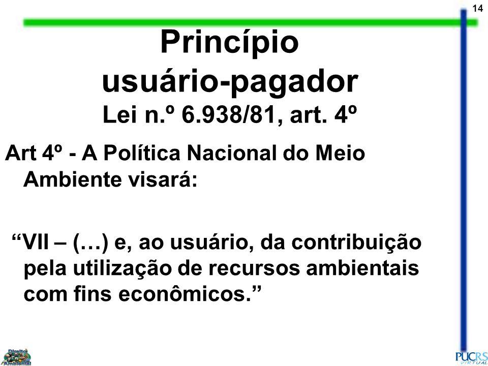 Princípio usuário-pagador Lei n.º 6.938/81, art. 4º