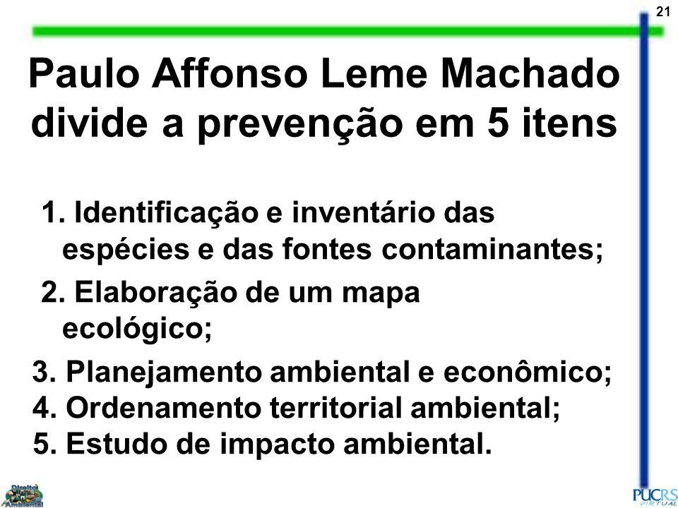 Paulo Affonso Leme Machado divide a prevenção em 5 itens