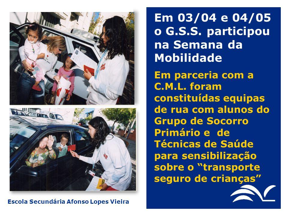 Em 03/04 e 04/05 o G.S.S. participou na Semana da Mobilidade