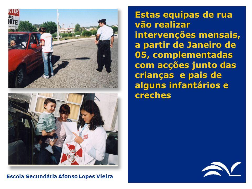 Estas equipas de rua vão realizar intervenções mensais, a partir de Janeiro de 05, complementadas com acções junto das crianças e pais de alguns infantários e creches