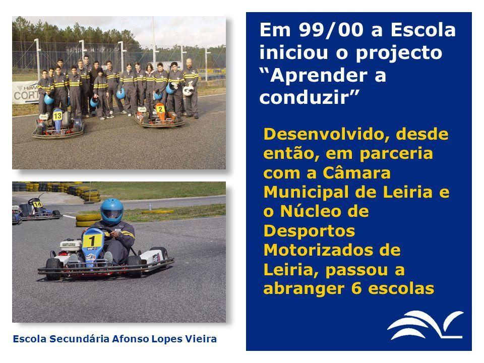 Em 99/00 a Escola iniciou o projecto Aprender a conduzir