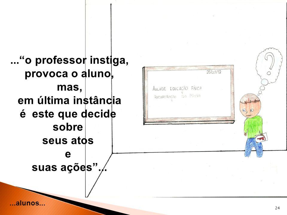 ... o professor instiga, provoca o aluno, mas, em última instância