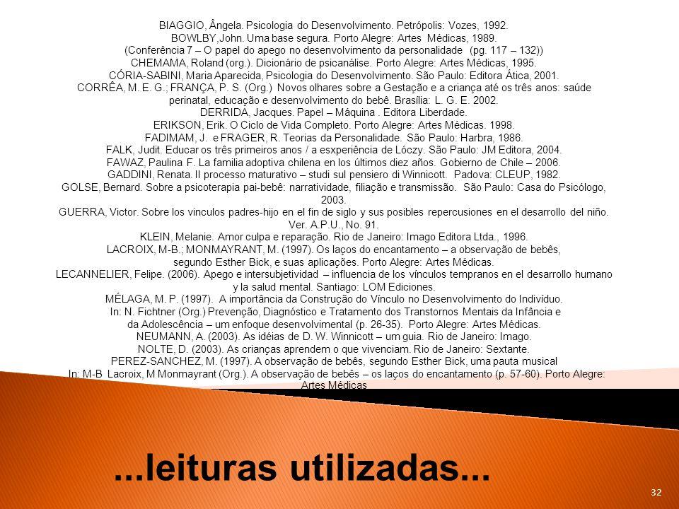 BIAGGIO, Ângela. Psicologia do Desenvolvimento. Petrópolis: Vozes, 1992.