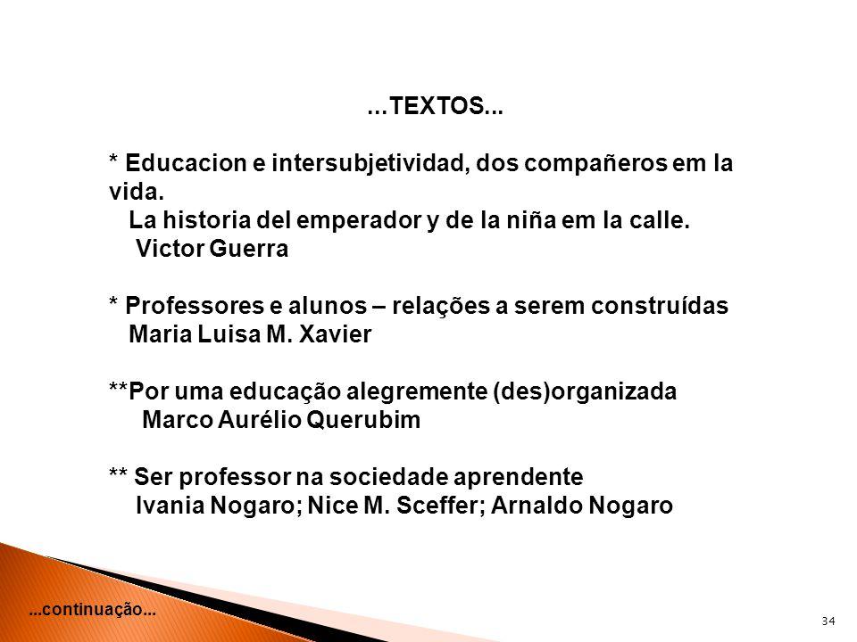 * Educacion e intersubjetividad, dos compañeros em la vida.