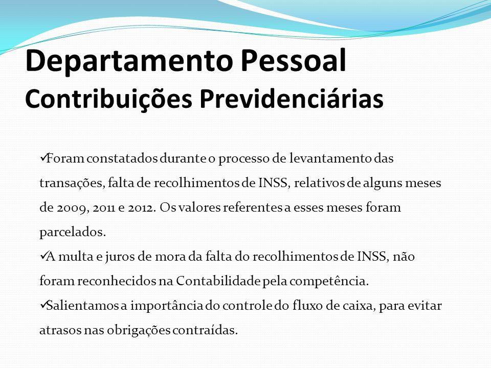 Departamento Pessoal Contribuições Previdenciárias
