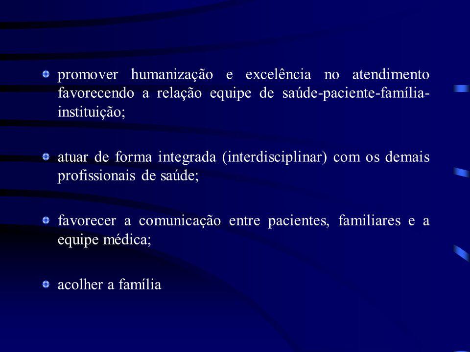 promover humanização e excelência no atendimento favorecendo a relação equipe de saúde-paciente-família-instituição;