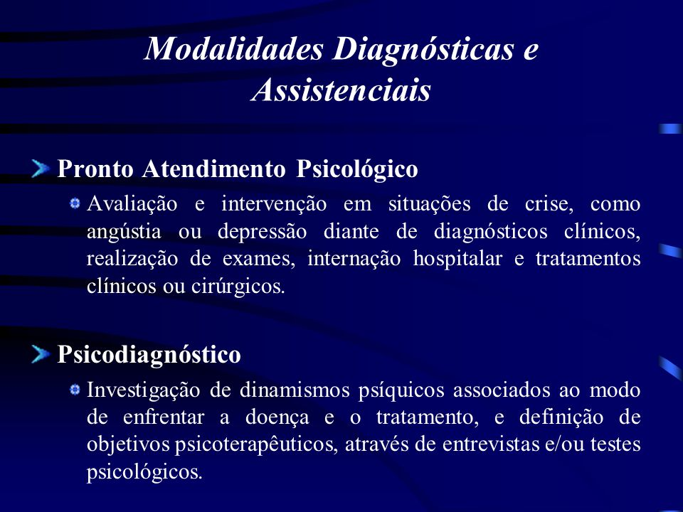 Modalidades Diagnósticas e Assistenciais