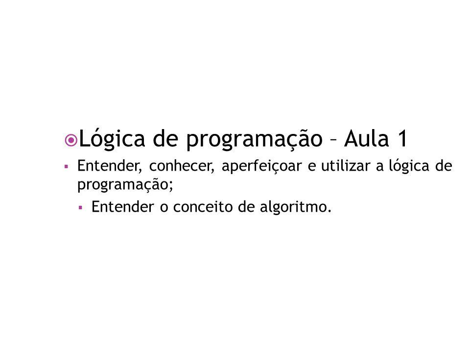 Lógica de programação – Aula 1