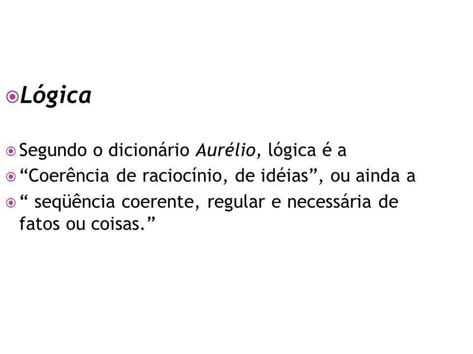 Lógica Segundo o dicionário Aurélio, lógica é a