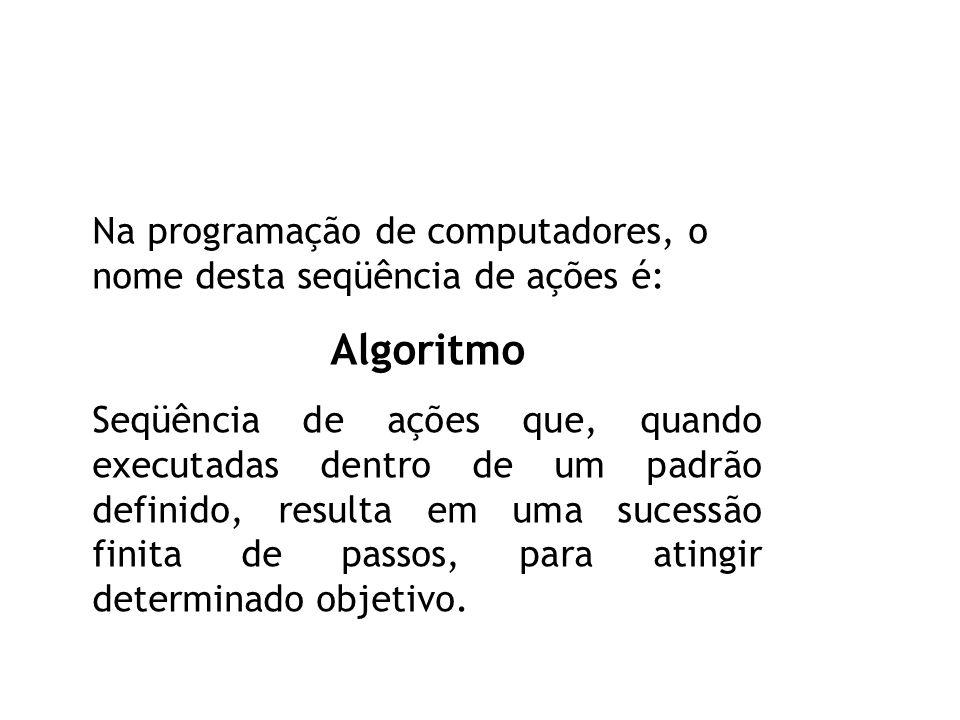 Na programação de computadores, o nome desta seqüência de ações é: