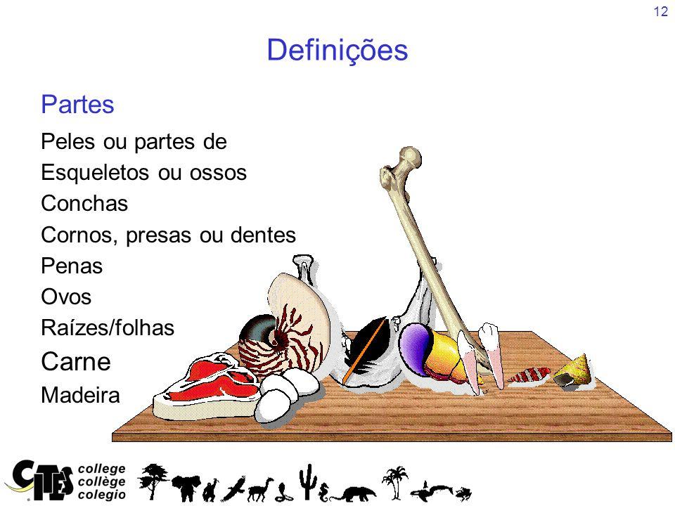 Definições Partes Carne Peles ou partes de Esqueletos ou ossos Conchas
