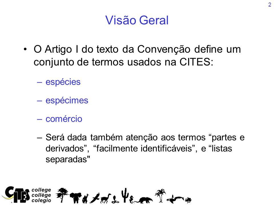 Visão Geral O Artigo I do texto da Convenção define um conjunto de termos usados na CITES: espécies.